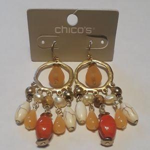 Chico's Betty Coral Dangle Hoop Earrings